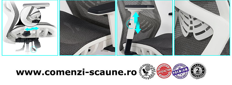 Scaun ergonomic multifunctional si elegant cu tetiera pe culoarea gri-SYYT-9503-2