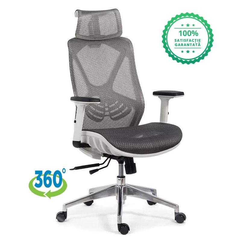 Scaun ergonomic multifunctional si elegant cu tetiera pe culoarea gri-SYYT-9503-3