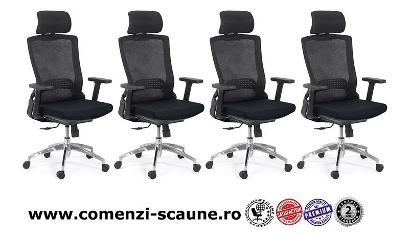 Scaun ergonomic cu brate reglabile si tetiera-negru-SYYT-9504-1