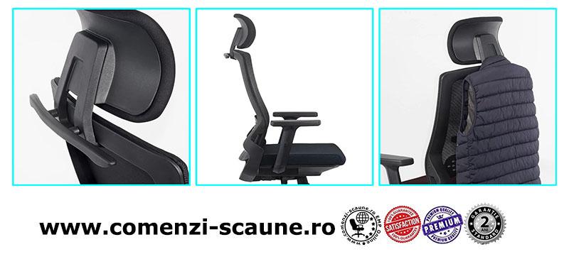 Scaun ergonomic cu brate reglabile si tetiera-negru-SYYT-9504-2