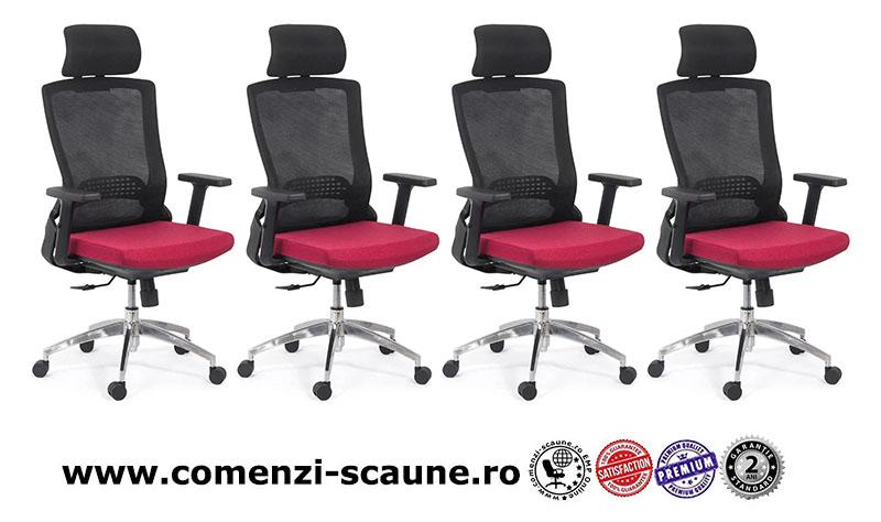 Scaun ergonomic cu brate reglabile si tetiera-rosu-SYYT 9504-1