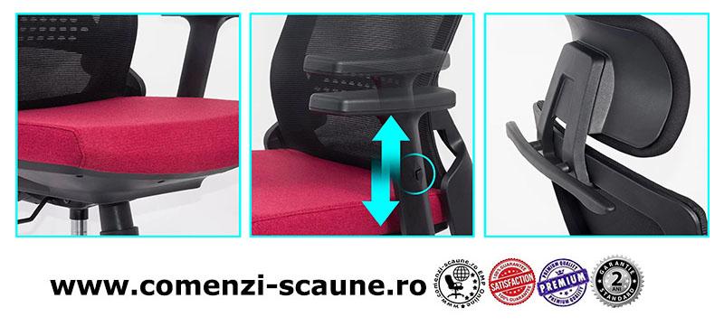 Scaun ergonomic cu brate reglabile si tetiera-rosu-SYYT 9504-2