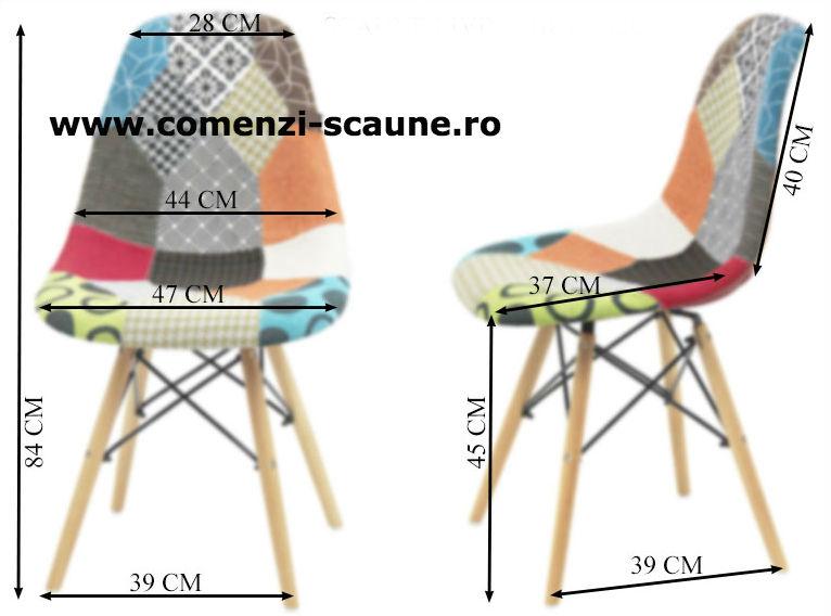 Scaun living si bucatarie din stofa cu picioare din lemn