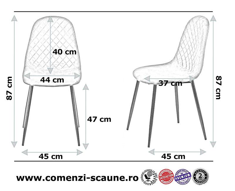 Dimensiune scaune de bucatarie din catifea BUC 237X