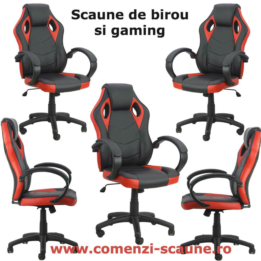 Scaun de birou si gaming pe culoarea rosu cu negru