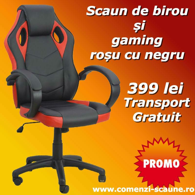 Scaun gaming pe culoarea negru cu rosu Transport Gratuit