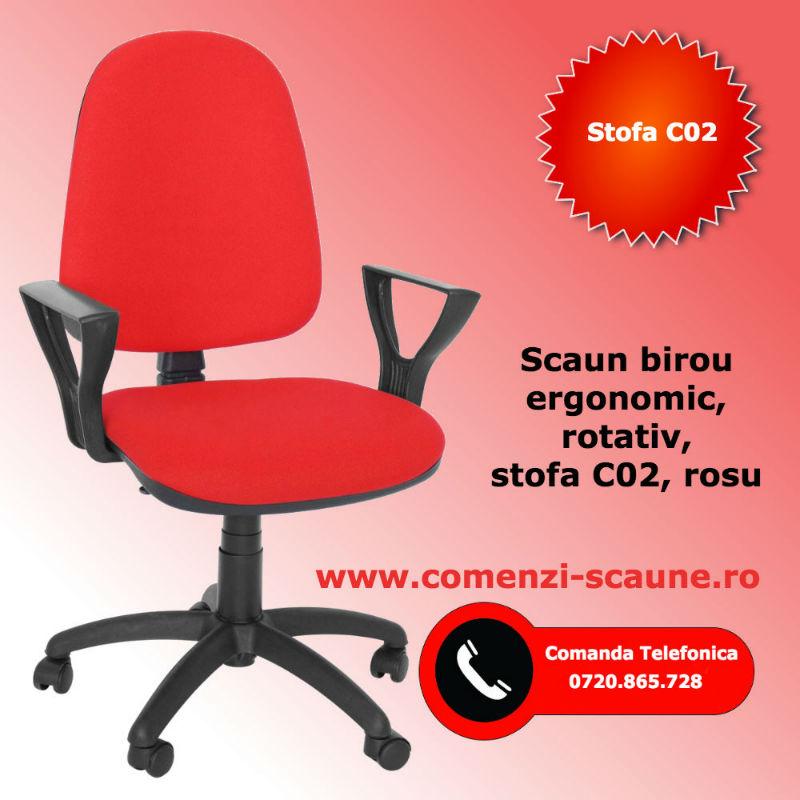 Scaun de birou rotativ model CS-R-LX stofa rosie