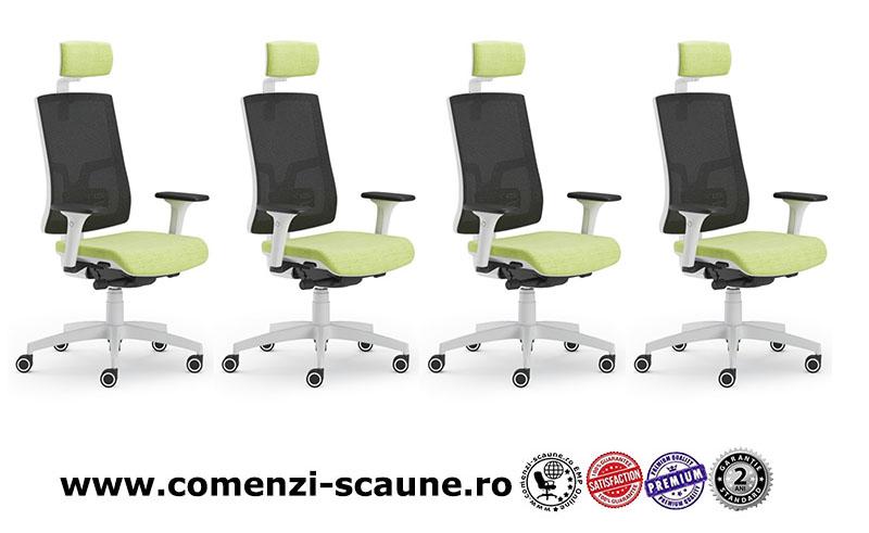 Scaun ergonomic confortabil si relaxant-PURE WHITE MESH PDH-1