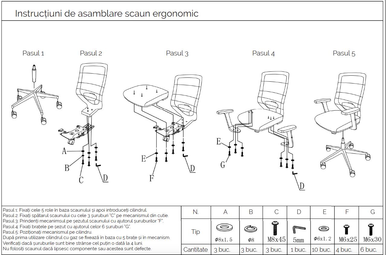 Instrucțiuni de asamblare-montare scaun de birou ergonomic Zen