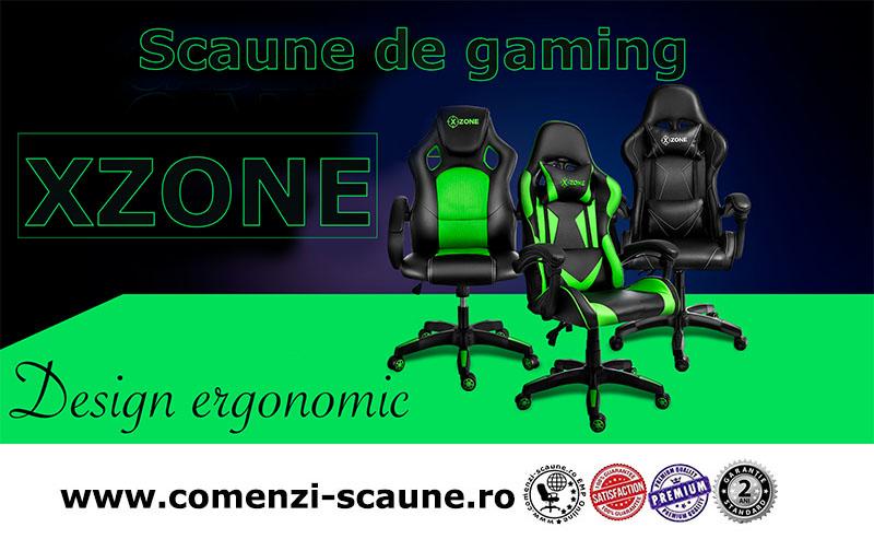 Scaune de gaming și birou din piele pe culoarea negru cu verde-Xzone