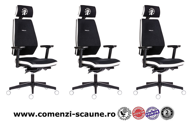Scaun de gaming si birou tip manager rezistente si confortabile-Model 42 Black and White-3