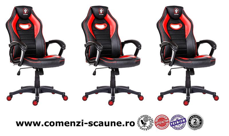 Scaune de gaming și birou confortabile din piele-Raptor Black and Red-2