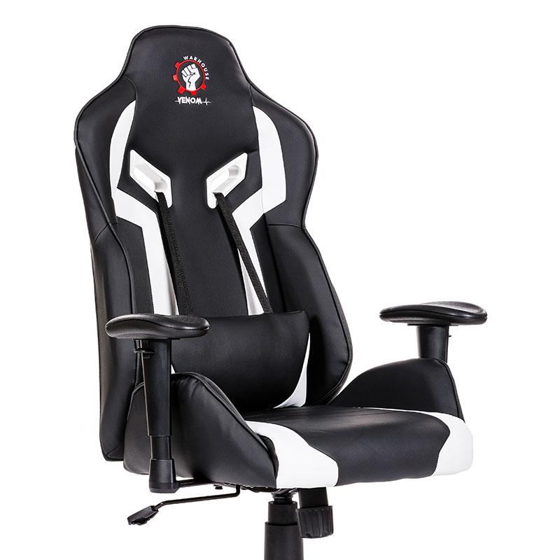 Scaune de gaming și birou elegante și robuste din piele-Venom Black and White-1