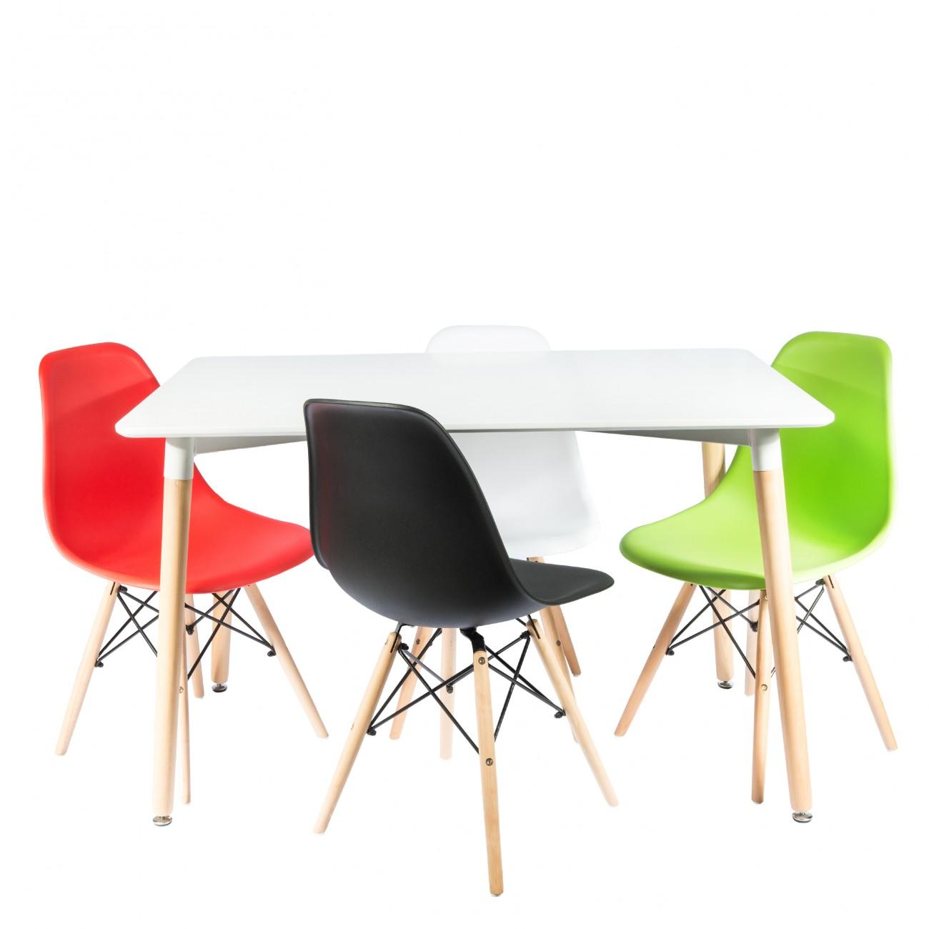 Masa-dreptunghiulara-alba-scaune-color