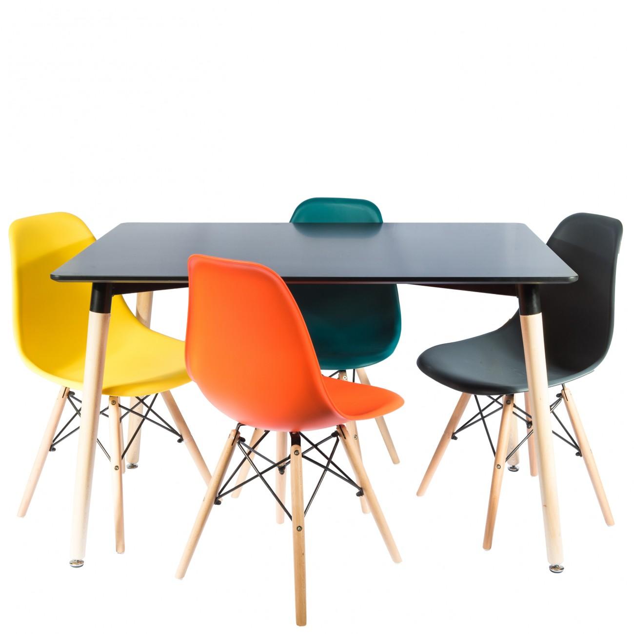 Masa-dreptunghiulara-negru-scaune