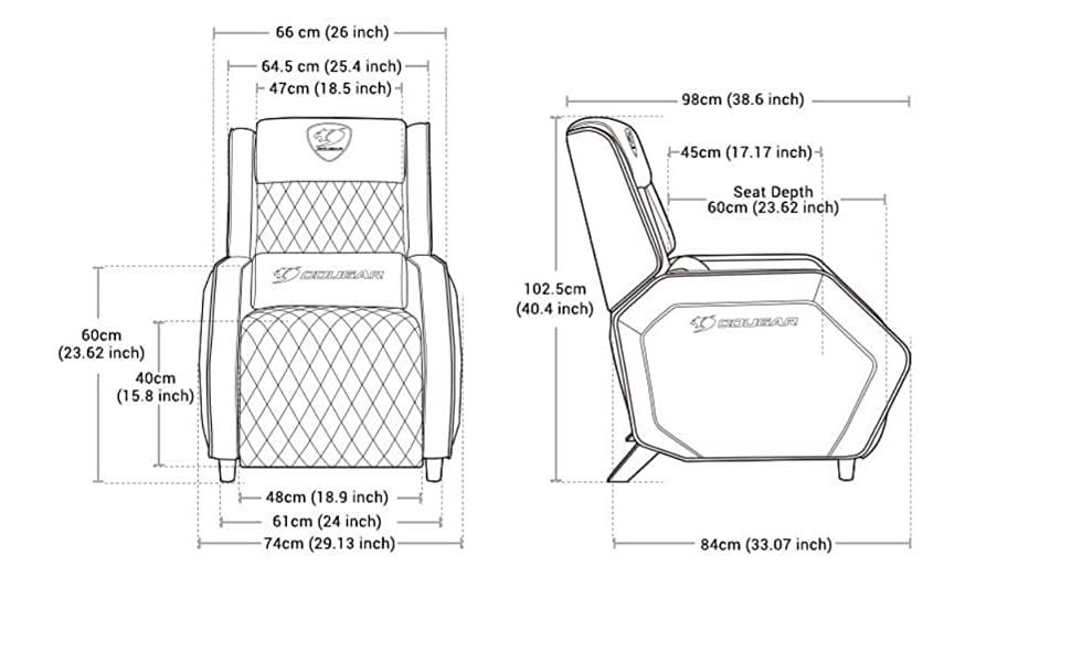 Scaun de gaming Cougar Ranger confortabil si elegant-dimensiuni