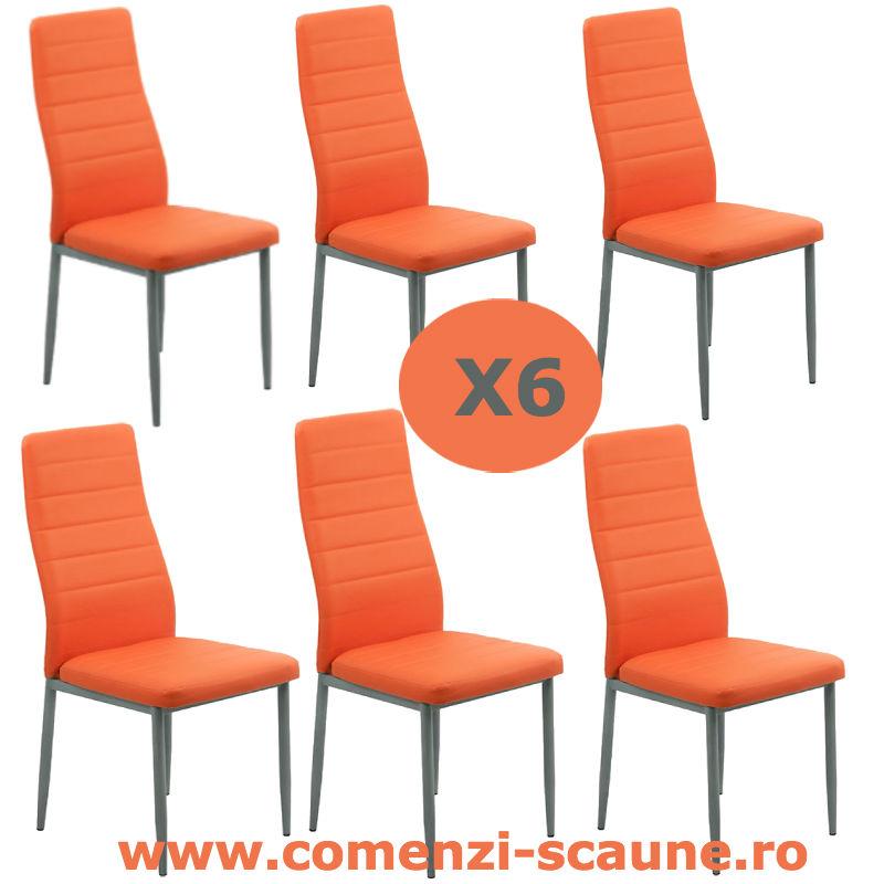 Set-6-scaune-bucatarie-portocalii